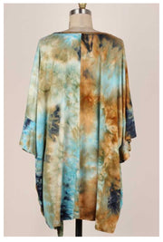 PQ-Y {Difference Maker} Mocha Blue Tie Dye Knot Hem Tunic BUTTER SOFT EXTENDED PLUS SIZE 4X 5X 6X