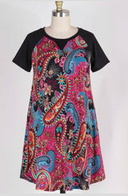 CP-X {Easy Living} Magenta Paisley Contrast Dress