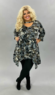 20 PQ-C {Something Proud} SALE!! Green Camo Print Bar Neck Tunic CURVY BRAND EXTENDED PLUS SIZE 3X 4X 5X 6X