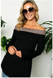 OS-F {Glamorous Night} Black Rose Gold Detail Off Should Top PLUS SIZE XL 2X 3X