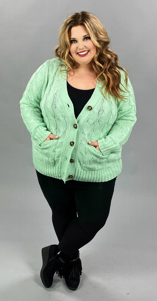 41 OT-X [Sweet Pistachio Cream} SALE!!  Mint Ribbed Cardigan w/front pockets PLUS SIZE 1X 2X 3X
