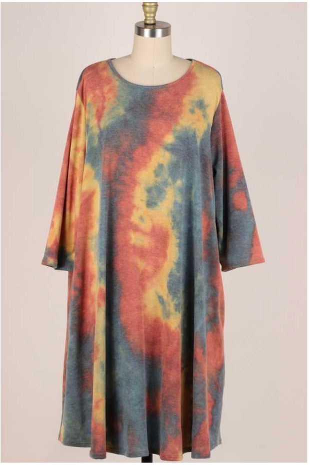 49 PQ-G { Wish You Could} Rust Green Blue Tie Dye Dress EXTENDED PLUS SIZE 3X 4X 5X