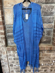 OT-B {Carolina Blue} Cardigan With Fringe Detail & Back Lace Insert PLUS SIZE 1X 2X 3X