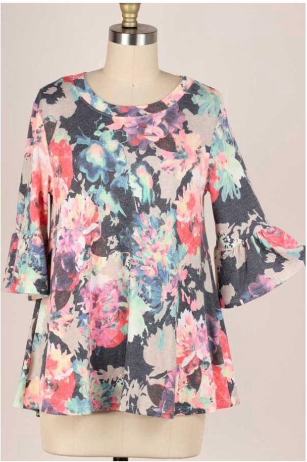 48 PSS-B {Out For The Day} Charcoal Neon Floral Print Knit Top PLUS SIZE XL 2X 3X