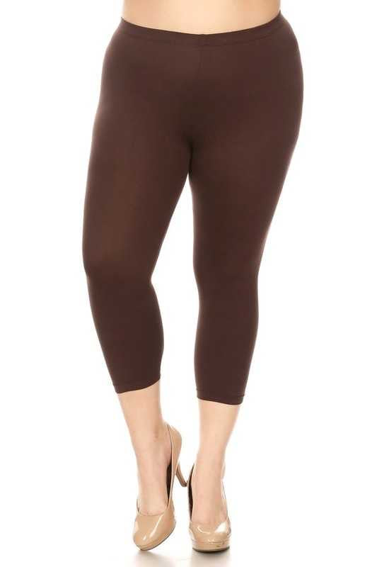 "SQ ""ALWAYS"" Smooth (Butter-Soft) BROWN Capri Leggings PLUS SIZE"