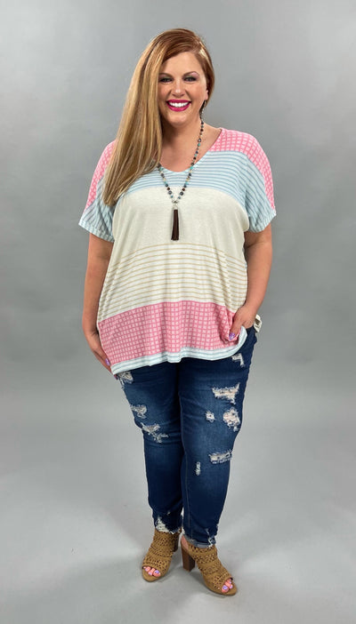 62 CP-N {Infinite Love} Pink/Blue Contrast Top PLUS SIZES XL 2X 3X