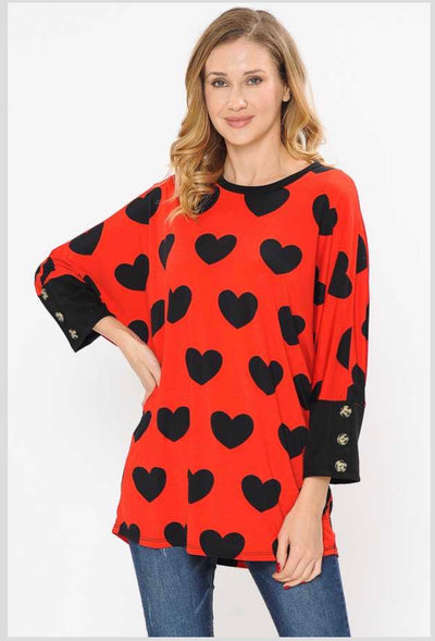 45-GT-B (My Hearts Desires) Red Tunic with Black Hearts PLUS SIZE 1X 2X 3X