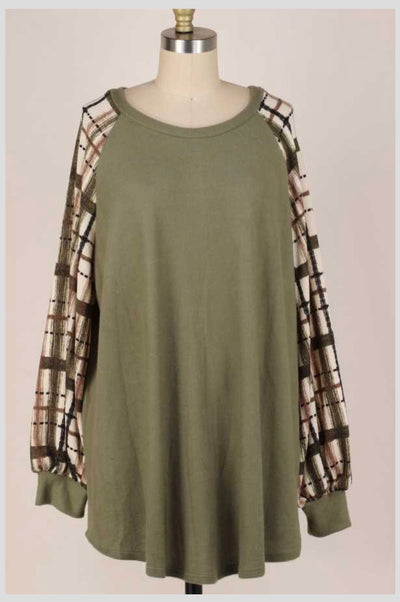 CP-A {Fight The Feeling} Olive Ivory Plaid Sleeve Knit Top PLUS SIZE XL 2X 3X