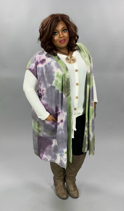 OT-Y {Can't Ignore} Purple Green Tie Dye Knit Vest CURVY BRAND EXTENDED PLUS SIZE 3X 4X 5X 6X