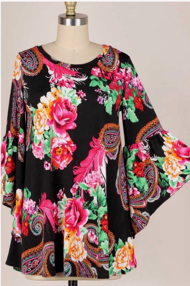 48 PLS-C {Admired By You} Black Floral, Paisley Tunic PLUS SIZE XL 2X 3X