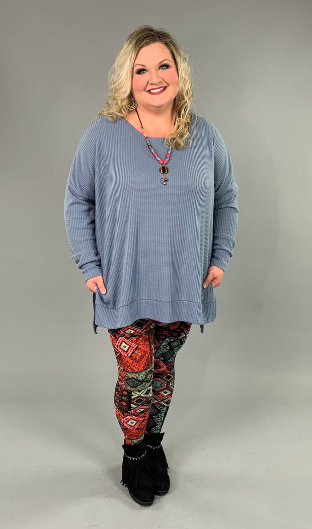SLS-R {You Sang To Me} Slate Waffle Knit Top with Split Sides  PLUS SIZE 1X 2X 3X SALE!!