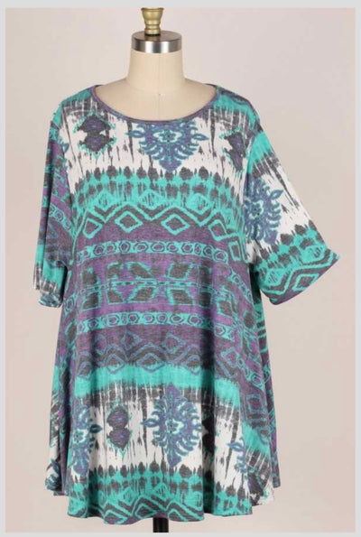65 PSS-T {Genuine Emotions} Jade Purple Printed Tunic EXTENDED PLUS SIZE 3X 4X 5X