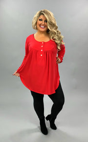 SLS-C (Back To Basics) Ruby Babydoll Top With Button Detail PLUS SIZE 1X 2X 3X