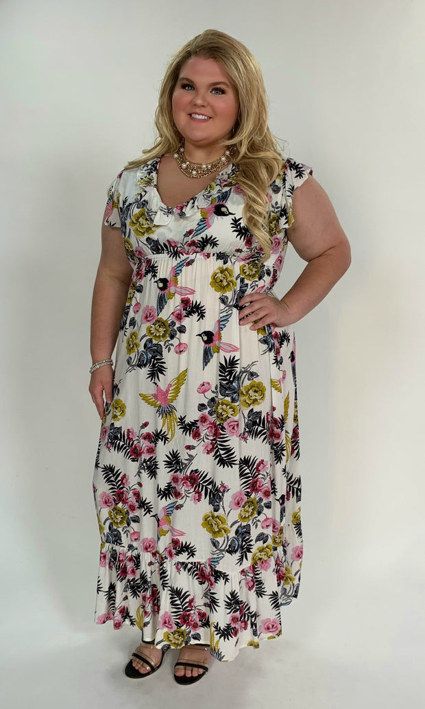 LD-B {Ruffled Up} Ivory Floral Print Dress W/ Ruffle Sleeves Extended Plus