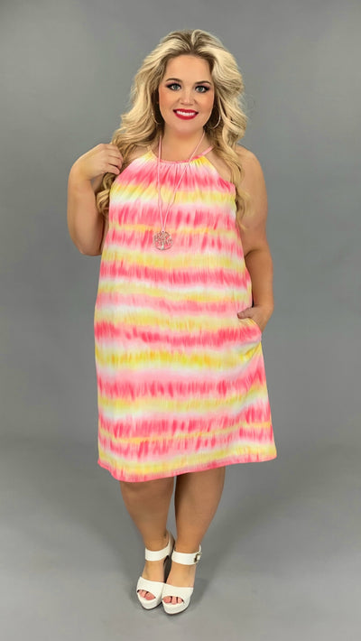 SV-Z {Pink Lemonade} Candy Pink/Lemon Halter Cut Sundress PLUS SIZE 1X 2X 3X