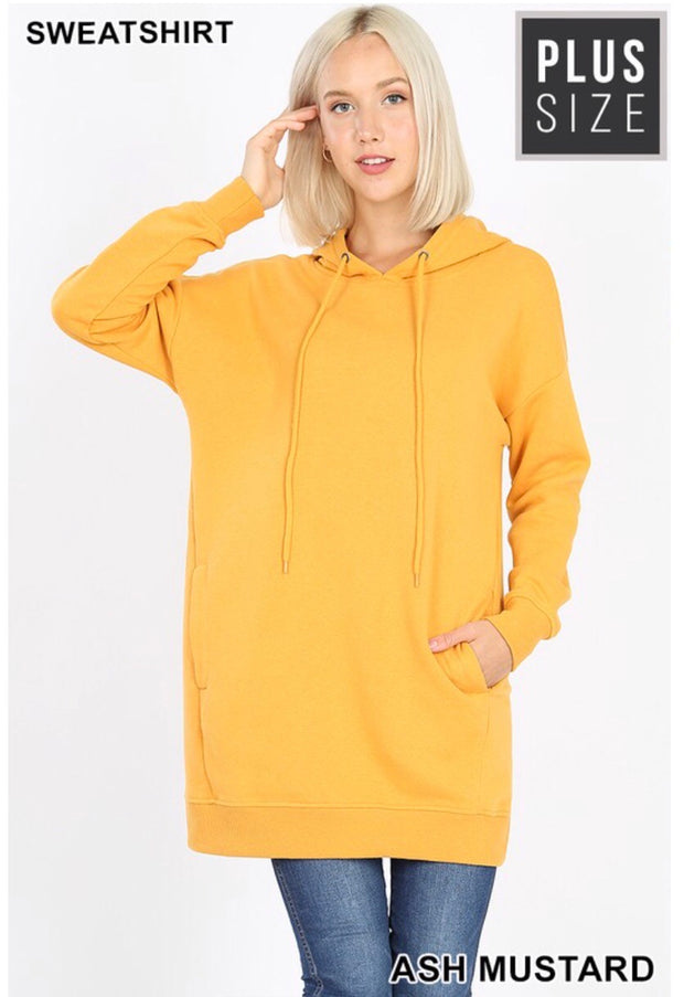 HD-E {Having A Blast} Ash Mustard Long Hoodie with Pockets SALE!