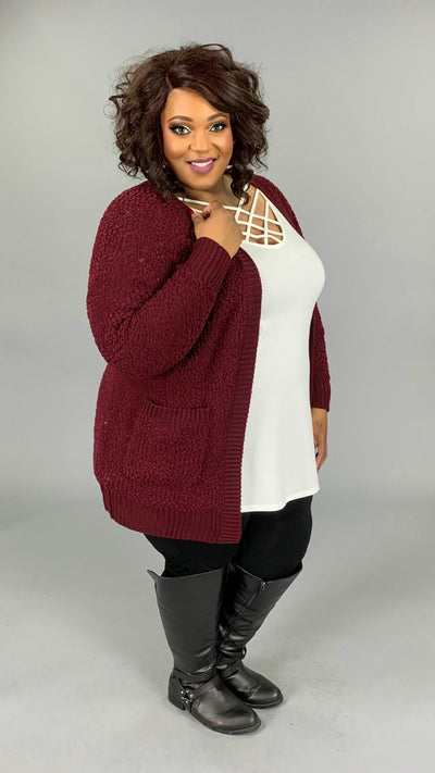 OT-T {Treat You Better} Burgundy Popcorn Sweater Cardigan with Pockets SALE!!