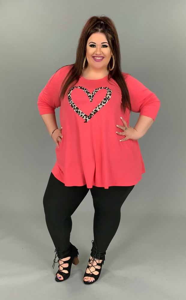 GT-C {Choose Love} Coral Top With Leopard Heart 3/4 Sleeve EXTENDED PLUS SIZE 3X 4X 5X 6X