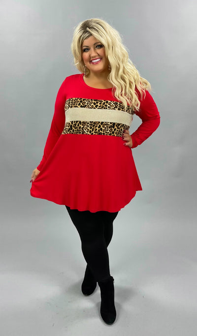 42 CP-H {Animal Within}  SALE!! Red Leopard Glitter Top CURVY BRAND EXTENDED PLUS SIZE 3X 4X 5X 6X
