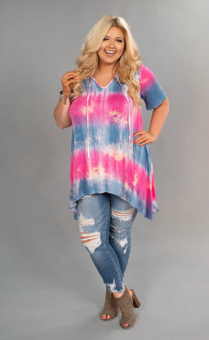 PSS-L {Beautiful Life} Pink & Blue Tie-Dye Hi-Lo Tunic