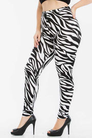 LEG-F {Not So Wild} Zebra Print Leggings PLUS SIZE XL 2X 3X