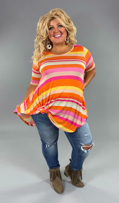 PSS-M {Blessings From Above} SALE!! Pink, Orange & Yellow Striped Top Extended Plus
