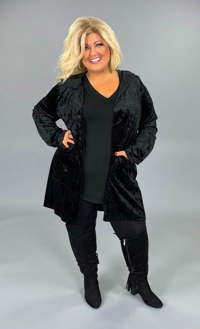 OT-P {Ebony Nights} Black Velvet Cardigan with Hood & Pockets