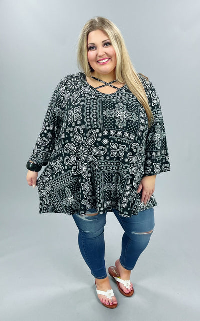 56 PQ-B { Ballet Memories} Black Multi Cross Neck Tunic EXTENDED PLUS SIZE 4X 5X 6X