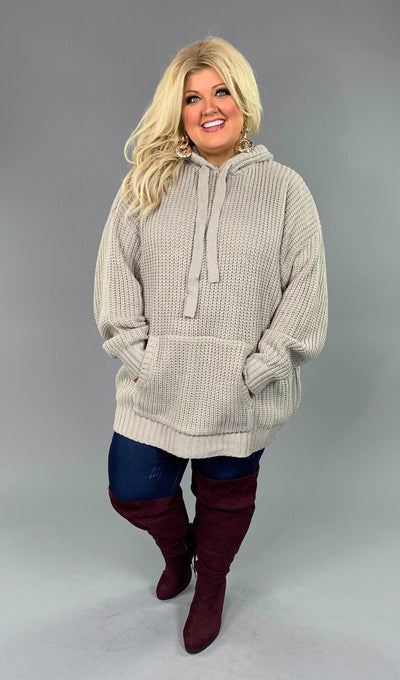HD- A {Never Look Back} LT. Grey Hooded Knit Sweater PLUS SIZE 1X 2X 3X SALE!!