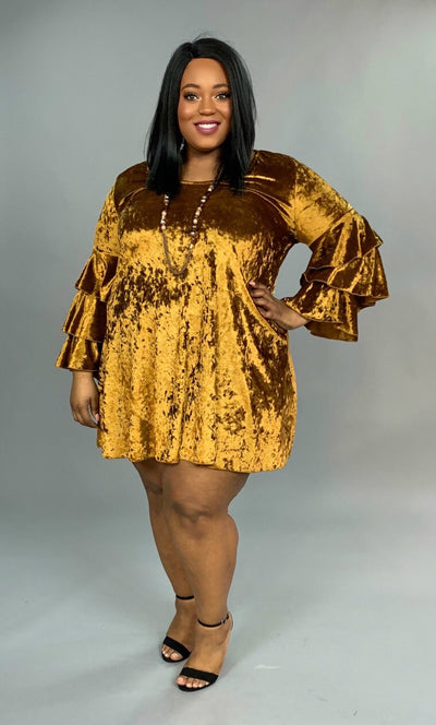 SLS-L {Gold Rush} Velvet V-Neck Dress with Triple Layer Sleeves PLUS SIZE 1X 2X 3X SALE!