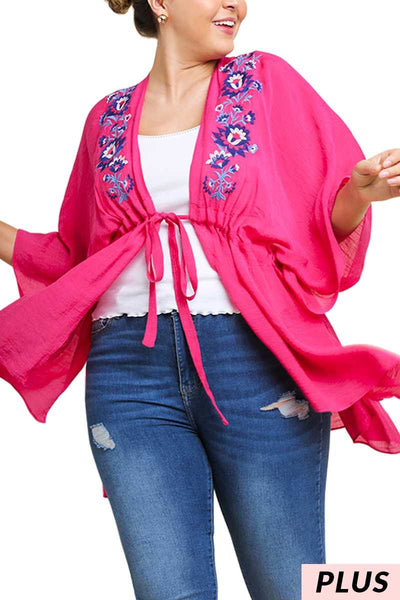 "OT-E{Dim The Lights}""Umgee""Fuchsia Kimono w/Embroidery Detail XL 1X 2X"