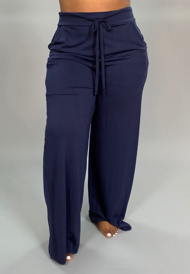 BT-A {Enjoy Today} Navy Lounge Pants W/ Drawstring