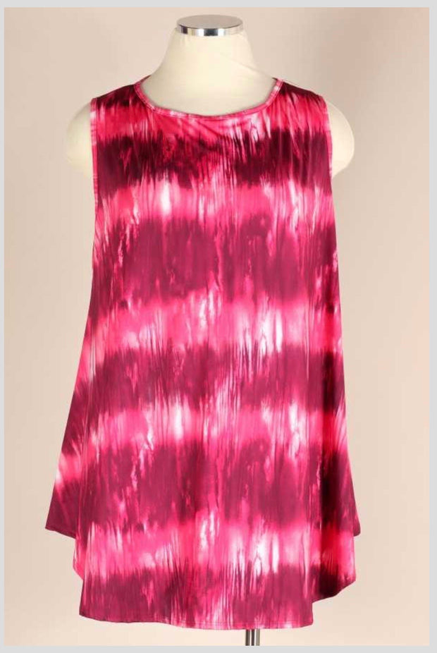 SV-Z {Let's Go Girls} Burgundy & Pink Tie Dye Tunic  EXTENDED PLUS SIZE 3X 4X 5X SALE!!