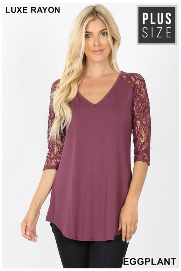 SD-N (Remember Me) Eggplant V-Neck Tunic With Lace Sleeves PLUS SIZE 1X 2X 3X