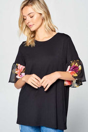 CP-A {Feeling Cute} Black Tunic With Sheer Floral Sleeve Detail PLUS SIZE 1X 2X 3X SALE!!