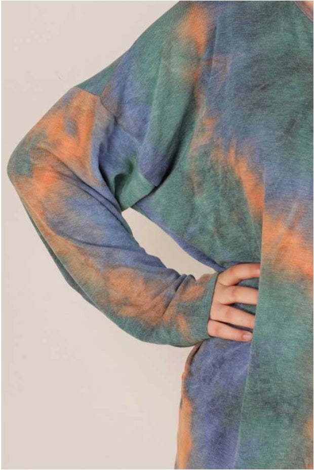 PLS-N {Here And Now} Blue Orange Green Tie Dye Knit Top EXTENDED PLUS SIZE 3X 4X 5X