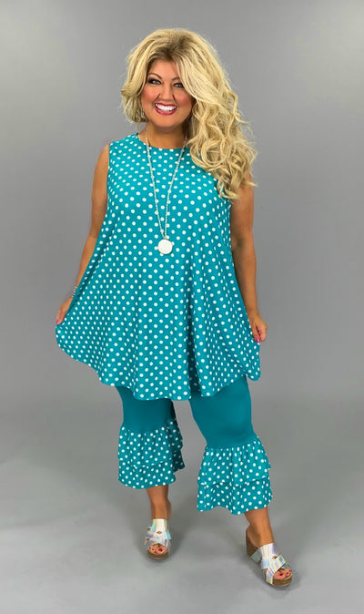 SET {Polka Dot Party} Teal Polka Dot Tunic With Ruffle Hem Capri EXTENDED PLUS SIZE 3X 4X 5X 6X in stock now (Preorder 1X & 2X)