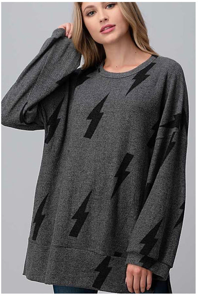 11-03 PLS-N {Shocker} Grey With Black Bolts Tunic EXTENDED PLUS SIZE 4X 5X 6X