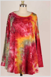 PLS-B {Hello Fall} Burgundy Mustard Tie Dye Top EXTENDED PLUS SIZE 3X 4X 5X