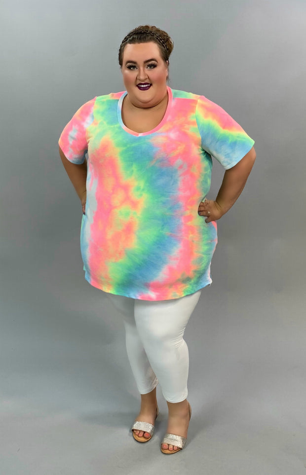 PSS-Y {Can't Be Missed} Neon Green Pink Tie Dye Tunic CURVY BRAND EXTENDED PLUS SIZE 3X 4X 5X 6X SALE!!
