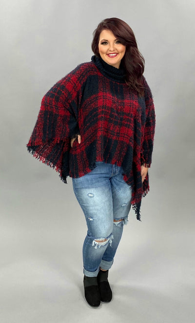 OT-A {Secret Obsession} Red Navy Plaid Knit Poncho PLUS SIZE