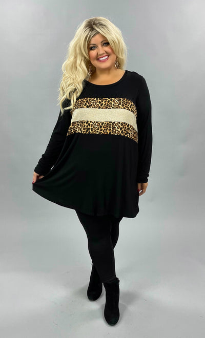 42 CP-J {Animal Within} SALE!! Black Leopard Glitter Top CURVY BRAND EXTENDED PLUS SIZE 3X 4X 5X 6X