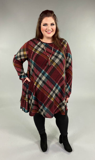 PLS-W {Forget Me Not} Burgundy Plaid Knit Dress with Pockets Extended Plus