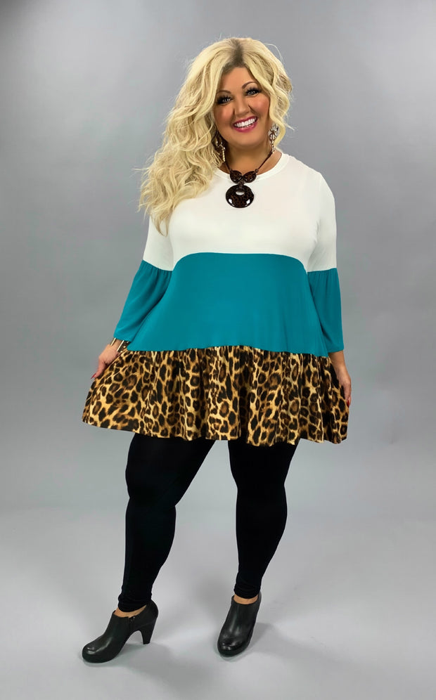 CP-C (Running Wild) Teal/White Leopard Contrast Top  EXTENDED PLUS 1X 2X  3X 4X 5X 6X