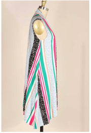 OT-S {Summer Solstice} Pink/Jade/Black Multi-Stripe Design Vest PLUS SIZE 1X 2X 3X