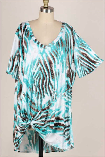 61 PSS-G {Silver Lining} Multi Color Animal Print Knot Detail Top EXTENDED PLUS 3X 4X 5X