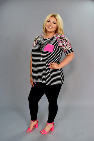CP-P {Think Fast} Neon Pink/Black Leopard & Striped Contrast Top