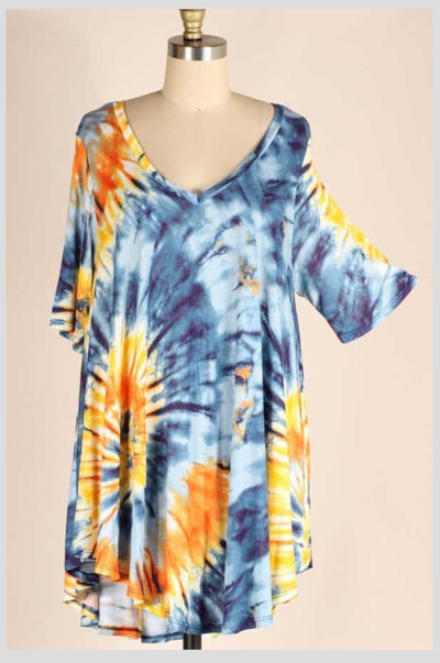 PSS-D {Time To Get Away} Blue/Yellow Tie Dye V-Neck Tunic EXTENDED PLUS SIZE 3X 4X 5X