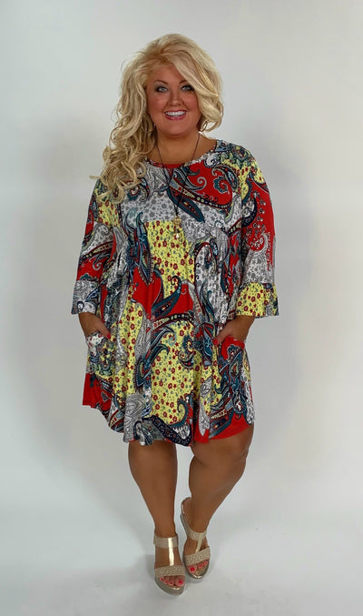 PQ-R {Lonesome Dove} Red Paisley Print Babydoll Dress SALE!!