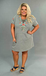 "SD-P * {Beyond Words} ""UMGEE"" Gray Floral Dress w/Pockets"